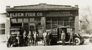 Old fashion image of early 1900's Olsen Fish Company store front